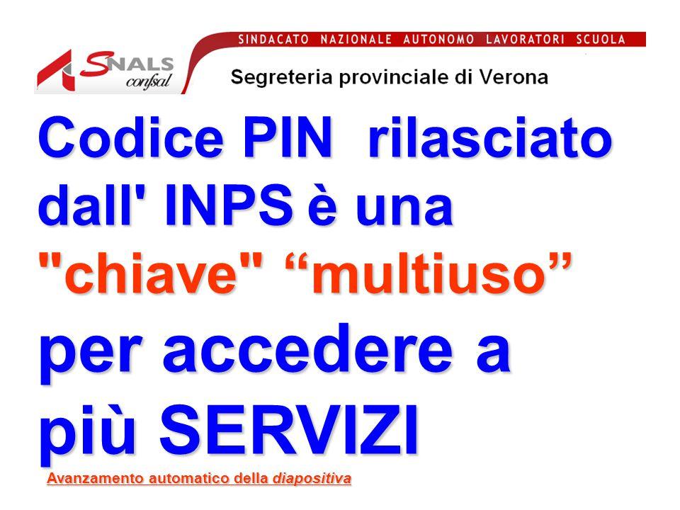 Codice PIN rilasciato dall INPS è una chiave multiuso per accedere a più SERVIZI Avanzamento automatico della diapositiva