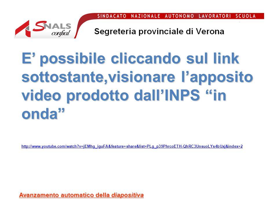 Avanzamento automatico della diapositiva http://www.youtube.com/watch?v=jEMhg_iguFA&feature=share&list=PLg_p39PhrcoETH-QhRC3UnsuoLYs4bUxj&index=2 E possibile cliccando sul link sottostante,visionare lapposito video prodotto dallINPS in onda