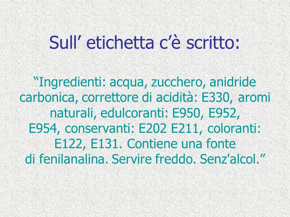 Sull etichetta cè scritto: Ingredienti: acqua, zucchero, anidride carbonica, correttore di acidità: E330, aromi naturali, edulcoranti: E950, E952, E95