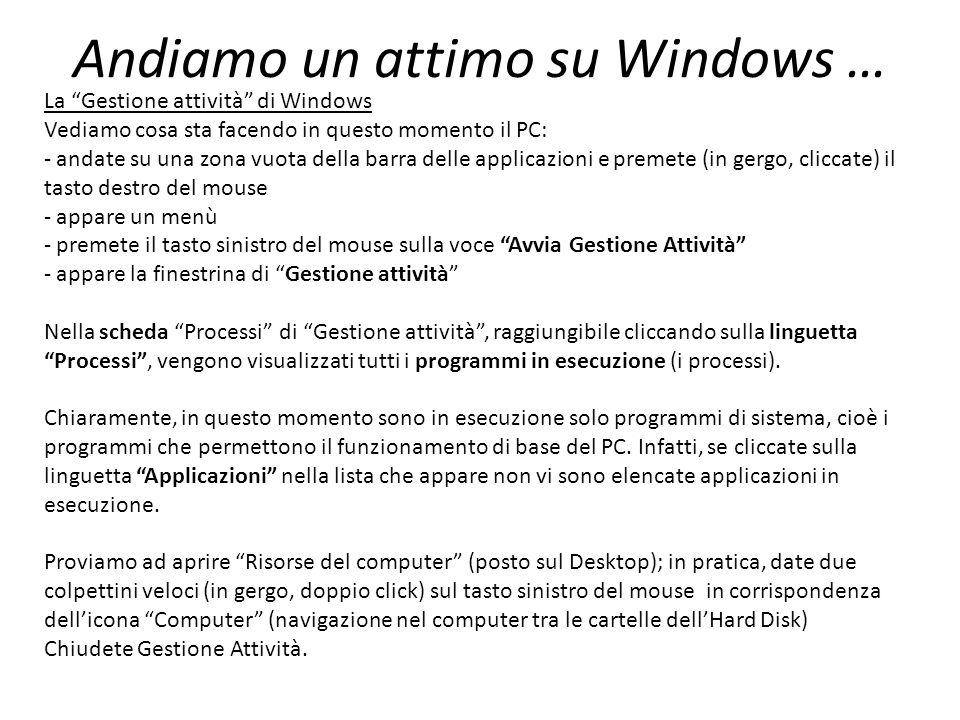 Andiamo un attimo su Windows … La Gestione attività di Windows Vediamo cosa sta facendo in questo momento il PC: - andate su una zona vuota della barra delle applicazioni e premete (in gergo, cliccate) il tasto destro del mouse - appare un menù - premete il tasto sinistro del mouse sulla voce Avvia Gestione Attività - appare la finestrina di Gestione attività Nella scheda Processi di Gestione attività, raggiungibile cliccando sulla linguetta Processi, vengono visualizzati tutti i programmi in esecuzione (i processi).