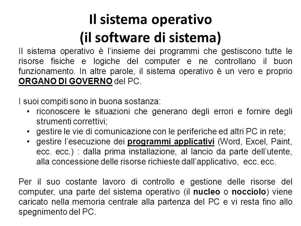 Il sistema operativo (il software di sistema) Il sistema operativo è linsieme dei programmi che gestiscono tutte le risorse fisiche e logiche del computer e ne controllano il buon funzionamento.