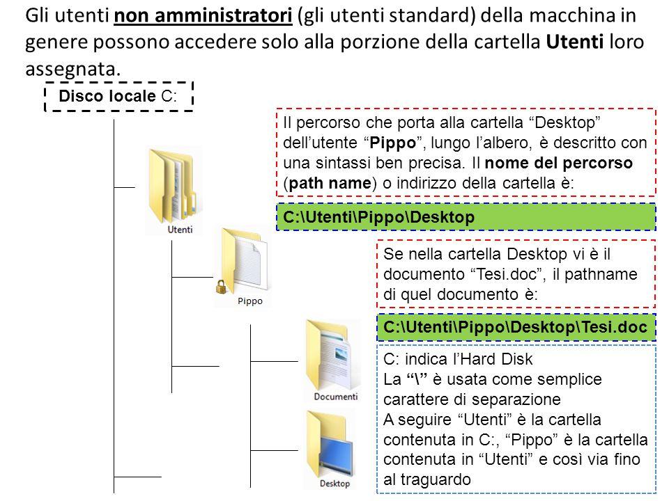 Gli utenti non amministratori (gli utenti standard) della macchina in genere possono accedere solo alla porzione della cartella Utenti loro assegnata.