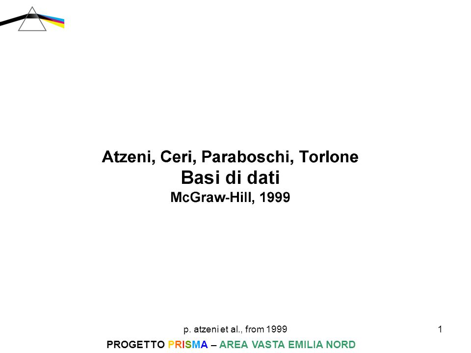 p. atzeni et al., from 199912 PROGETTO PRISMA – AREA VASTA EMILIA NORD progettazione logica A