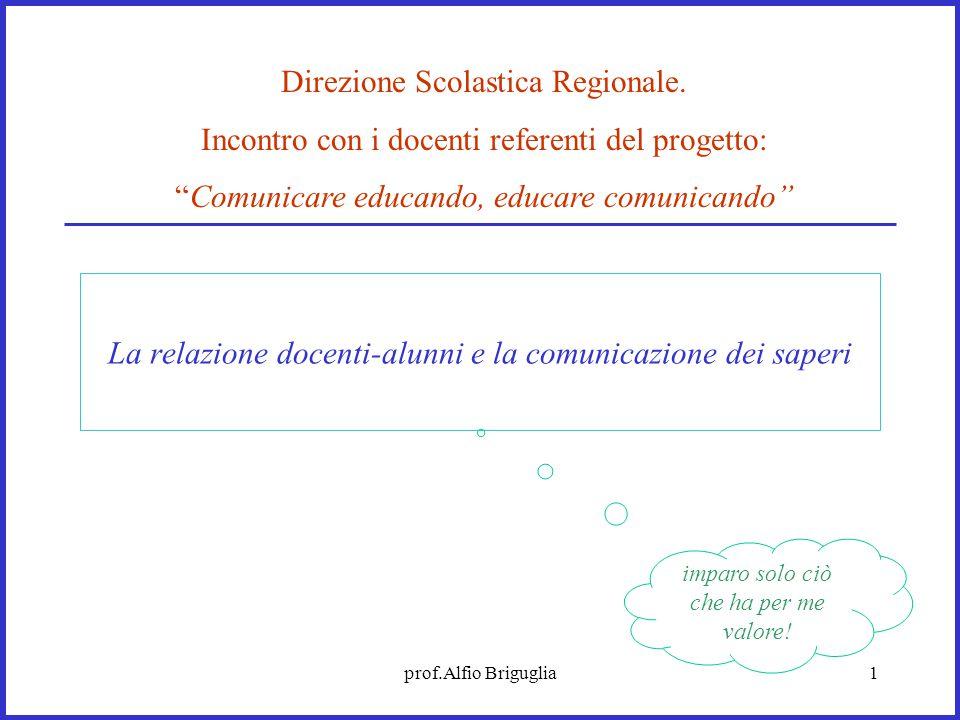 prof.Alfio Briguglia1 La relazione docenti-alunni e la comunicazione dei saperi Direzione Scolastica Regionale. Incontro con i docenti referenti del p