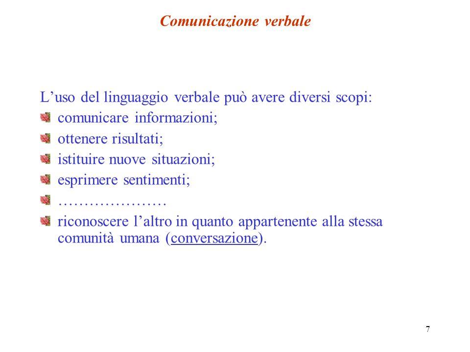 7 Comunicazione verbale Luso del linguaggio verbale può avere diversi scopi: comunicare informazioni; ottenere risultati; istituire nuove situazioni;