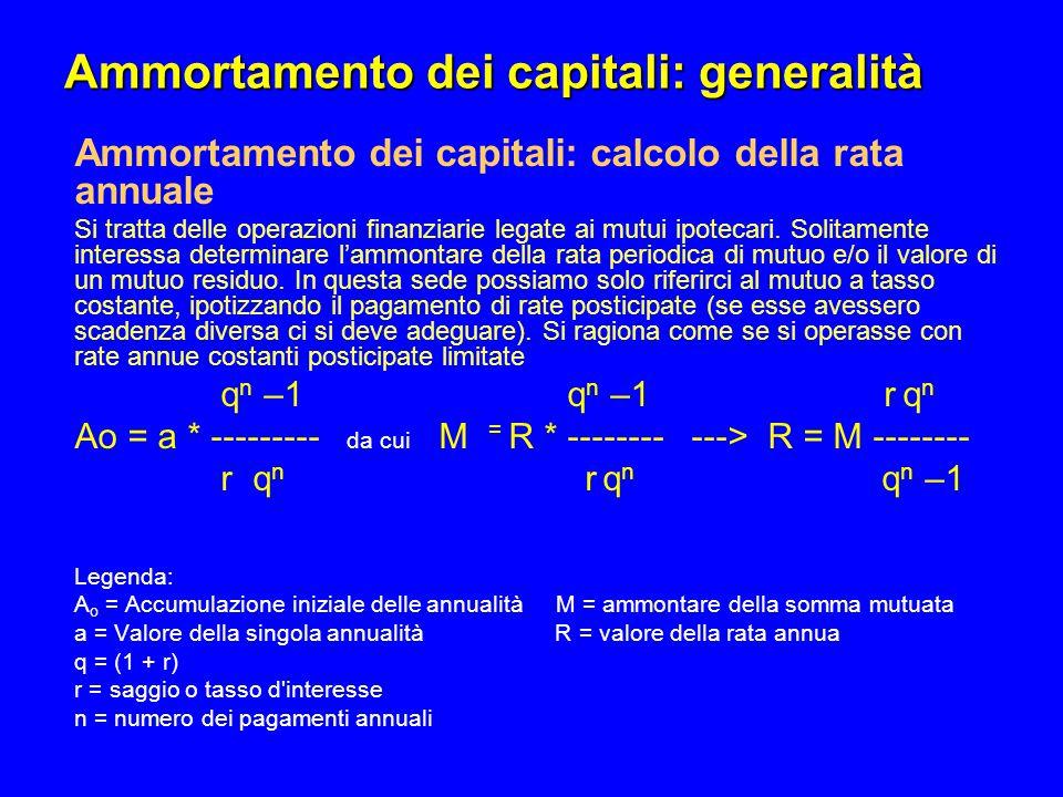 Ammortamento dei capitali: generalità Ammortamento dei capitali: calcolo della rata annuale Si tratta delle operazioni finanziarie legate ai mutui ipo
