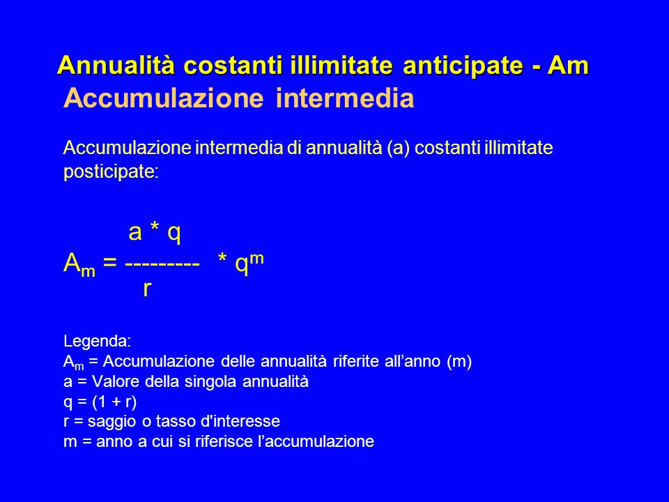 Annualità costanti illimitate anticipate - Am Accumulazione intermedia Accumulazione intermedia di annualità (a) costanti illimitate posticipate: a *