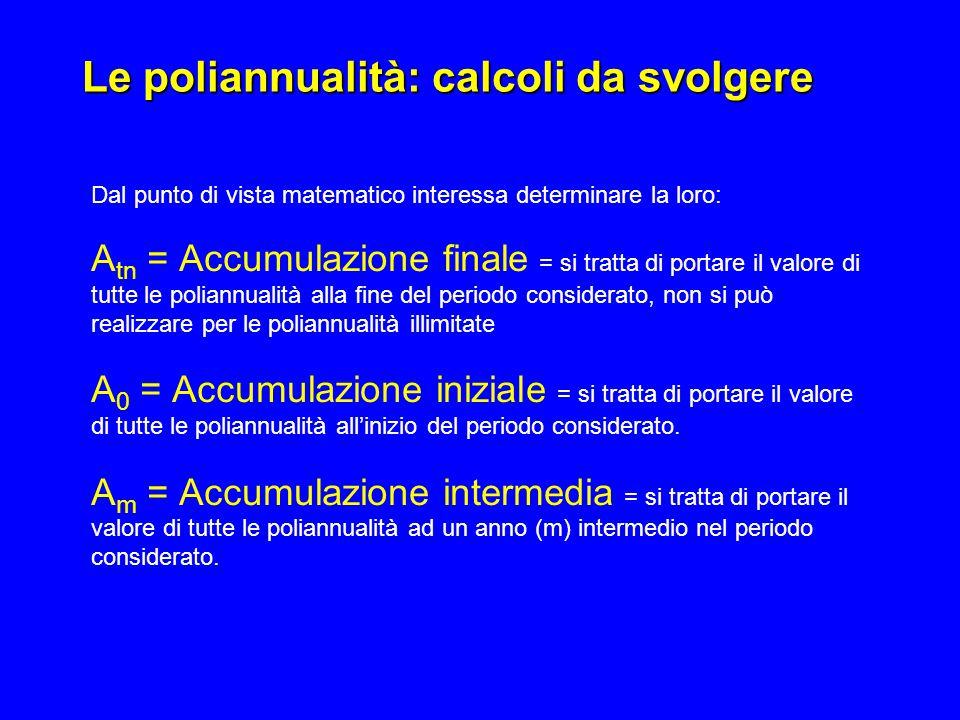 Le poliannualità: calcoli da svolgere Dal punto di vista matematico interessa determinare la loro: A tn = Accumulazione finale = si tratta di portare