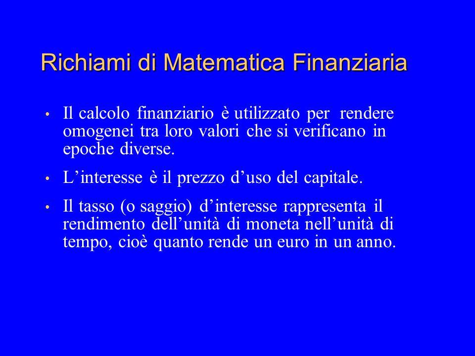Richiami di Matematica Finanziaria Il calcolo finanziario è utilizzato per rendere omogenei tra loro valori che si verificano in epoche diverse. Linte