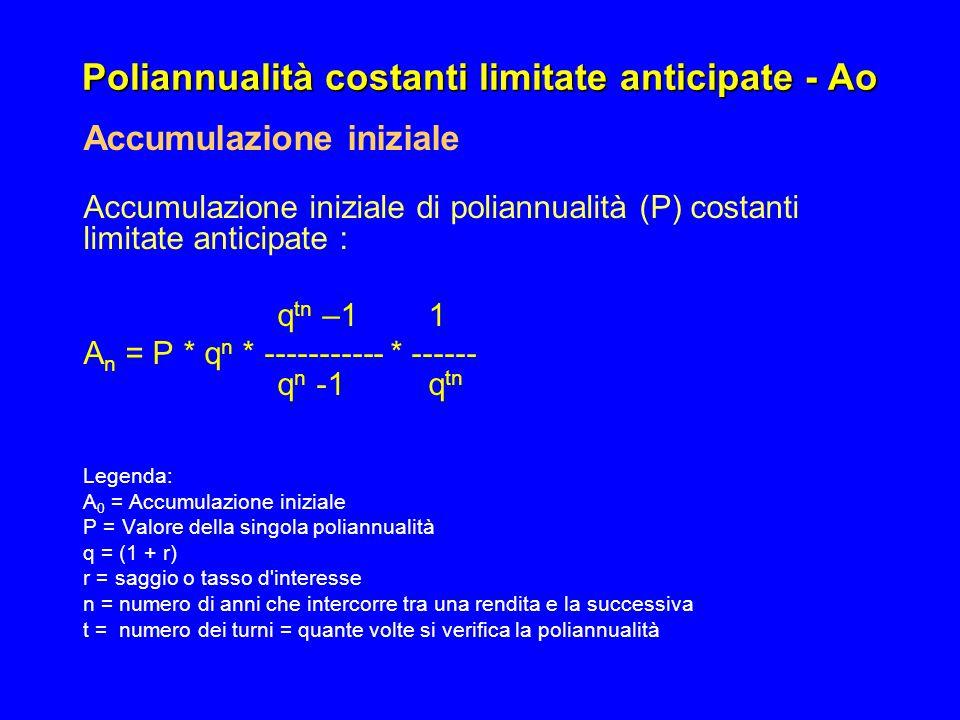 Poliannualità costanti limitate anticipate - Ao Accumulazione iniziale Accumulazione iniziale di poliannualità (P) costanti limitate anticipate : q tn