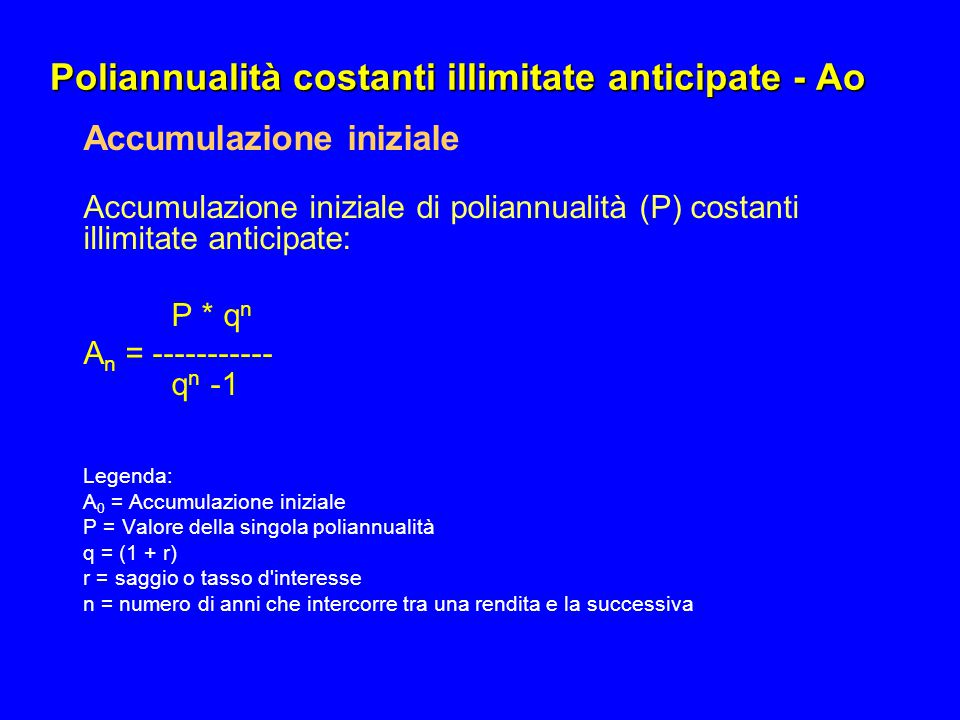 Poliannualità costanti illimitate anticipate - Ao Accumulazione iniziale Accumulazione iniziale di poliannualità (P) costanti illimitate anticipate: P