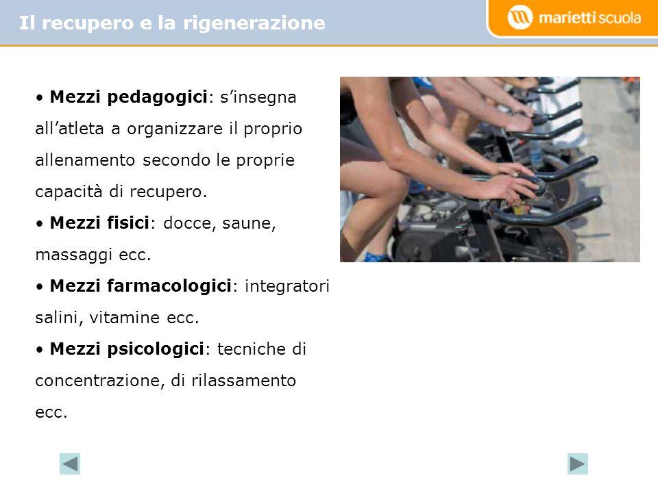 Il recupero e la rigenerazione Mezzi pedagogici: sinsegna allatleta a organizzare il proprio allenamento secondo le proprie capacità di recupero.