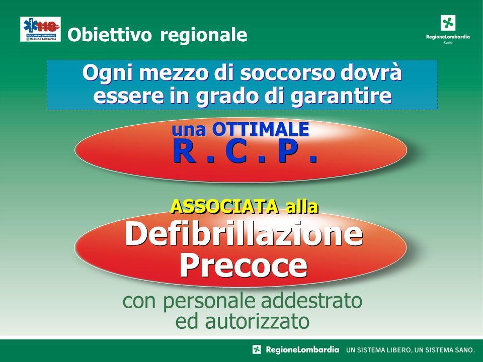 Obiettivo regionale Defibrillazione Precoce con personale addestrato ed autorizzato Ogni mezzo di soccorso dovrà essere in grado di garantire R.