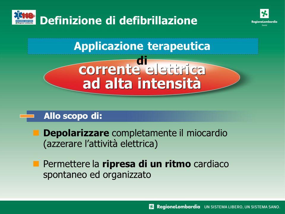 Depolarizzare completamente il miocardio (azzerare lattività elettrica) Permettere la ripresa di un ritmo cardiaco spontaneo ed organizzato Definizione di defibrillazione Applicazione terapeutica Allo scopo di: di corrente elettrica ad alta intensità