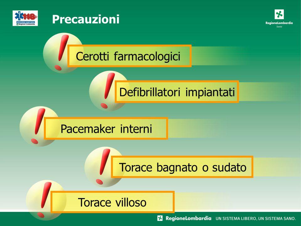Pacemaker interni Cerotti farmacologici Defibrillatori impiantatiTorace villosoTorace bagnato o sudato Precauzioni