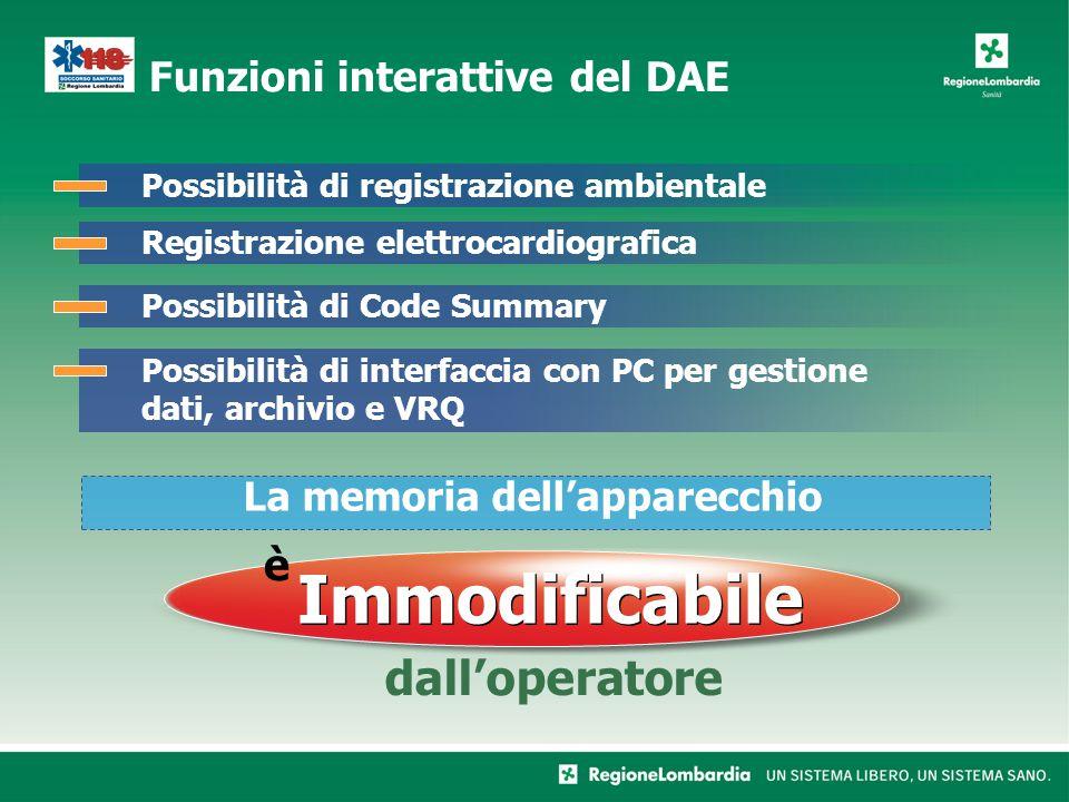Funzioni interattive del DAE Possibilità di registrazione ambientaleRegistrazione elettrocardiograficaPossibilità di Code SummaryPossibilità di interfaccia con PC per gestione dati, archivio e VRQ La memoria dellapparecchio dalloperatore è Immodificabile