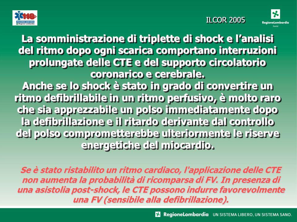 La somministrazione di triplette di shock e lanalisi del ritmo dopo ogni scarica comportano interruzioni prolungate delle CTE e del supporto circolatorio coronarico e cerebrale.