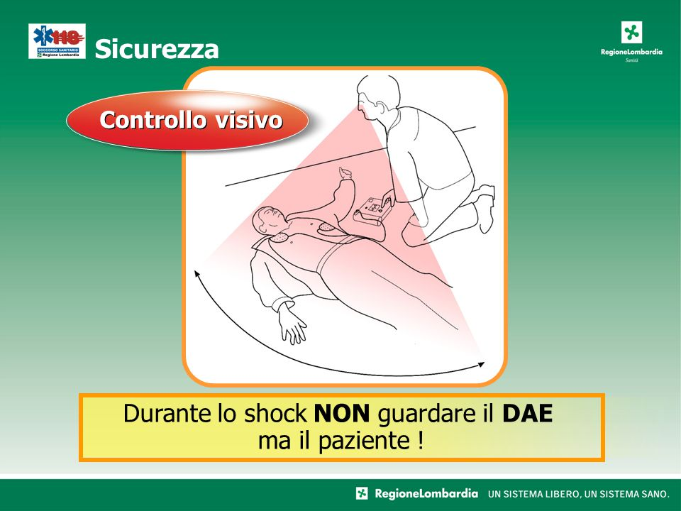 Sicurezza Controllo visivo Durante lo shock NON guardare il DAE ma il paziente !