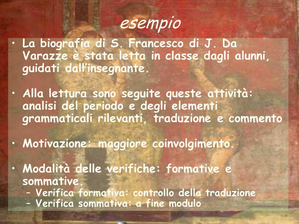 La biografia di S. Francesco di J. Da Varazze è stata letta in classe dagli alunni, guidati dallinsegnante. Alla lettura sono seguite queste attività: