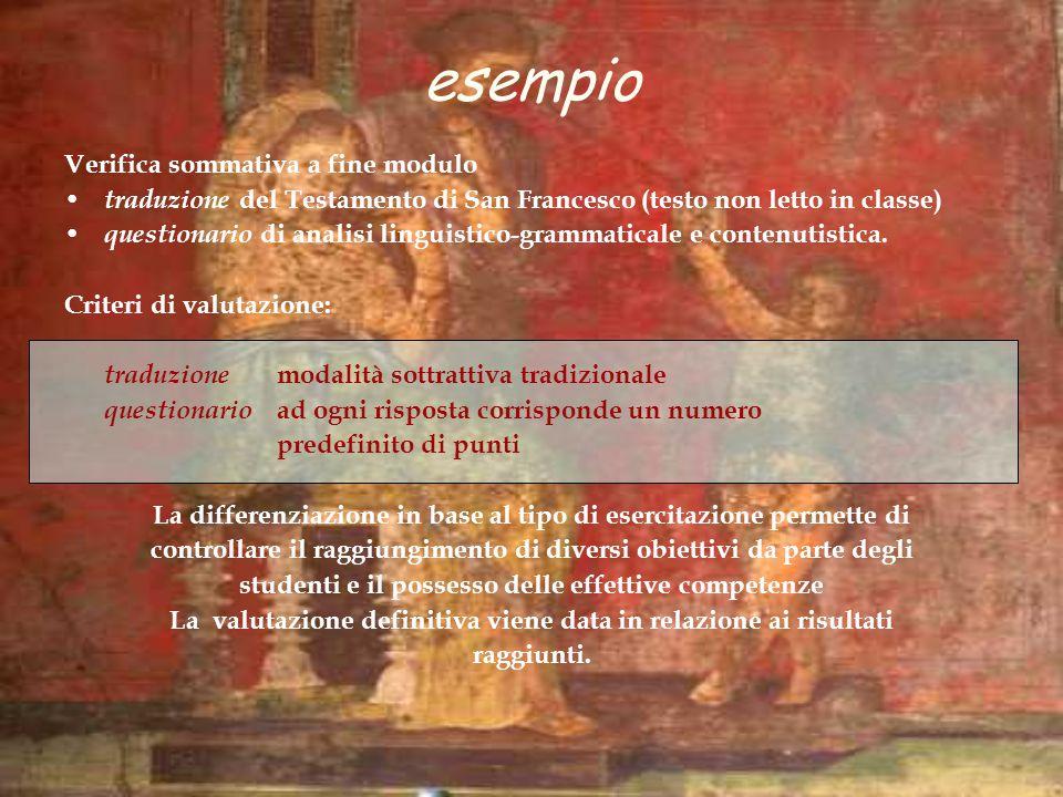Verifica sommativa a fine modulo traduzione del Testamento di San Francesco (testo non letto in classe) questionario di analisi linguistico-grammatica