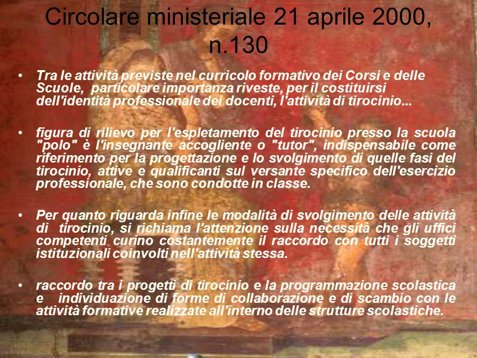 Circolare ministeriale 21 aprile 2000, n.130 Tra le attività previste nel curricolo formativo dei Corsi e delle Scuole, particolare importanza riveste