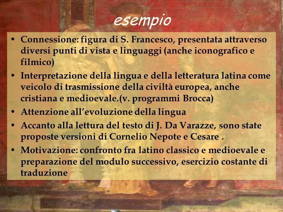 esempio Connessione: figura di S. Francesco, presentata attraverso diversi punti di vista e linguaggi (anche iconografico e filmico) Interpretazione d