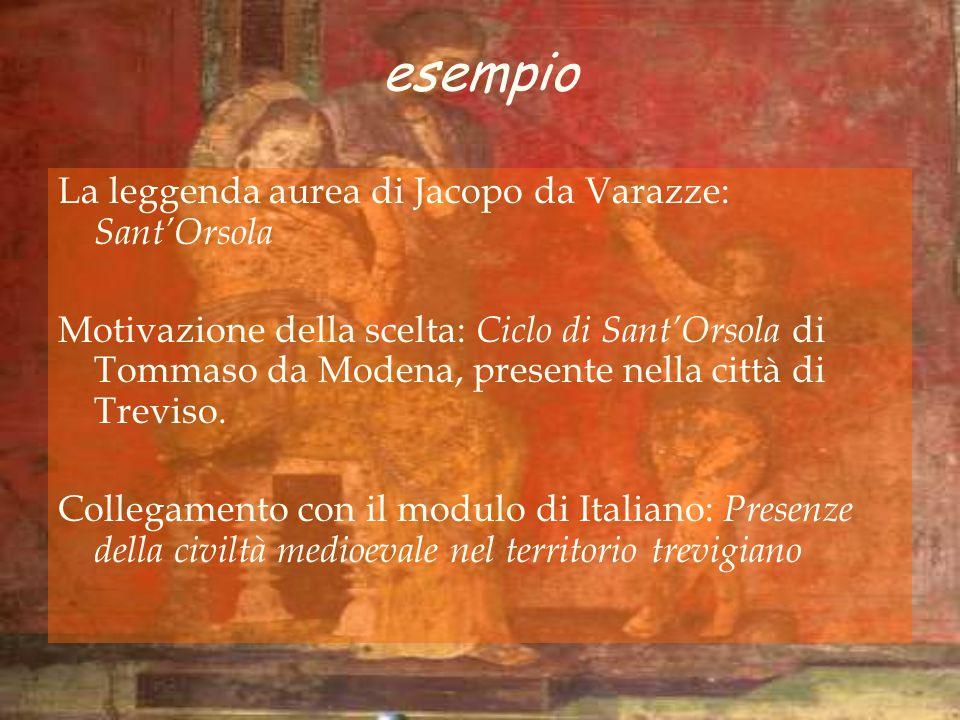 esempio La leggenda aurea di Jacopo da Varazze: SantOrsola Motivazione della scelta: Ciclo di SantOrsola di Tommaso da Modena, presente nella città di