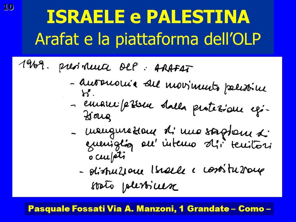 Pasquale Fossati Via A. Manzoni, 1 Grandate – Como – ISRAELE e PALESTINA 10 Arafat e la piattaforma dellOLP