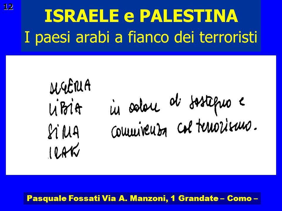 Pasquale Fossati Via A. Manzoni, 1 Grandate – Como – ISRAELE e PALESTINA 12 I paesi arabi a fianco dei terroristi