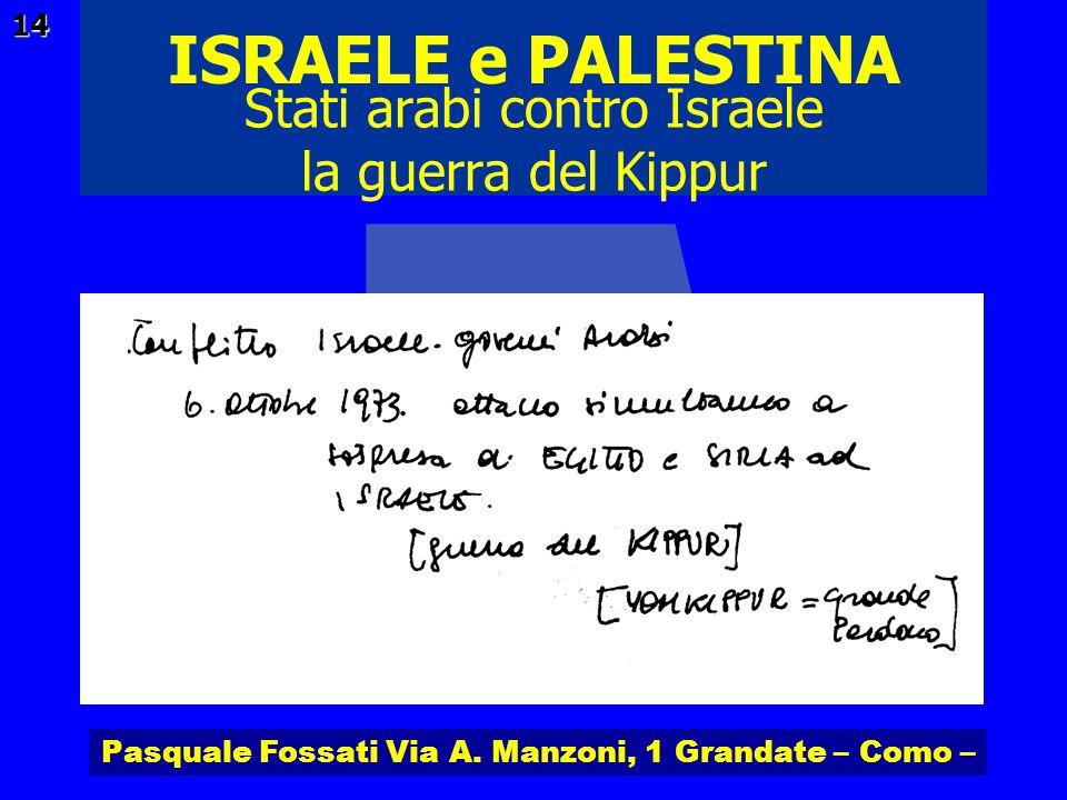 Pasquale Fossati Via A. Manzoni, 1 Grandate – Como – ISRAELE e PALESTINA 14 Stati arabi contro Israele la guerra del Kippur