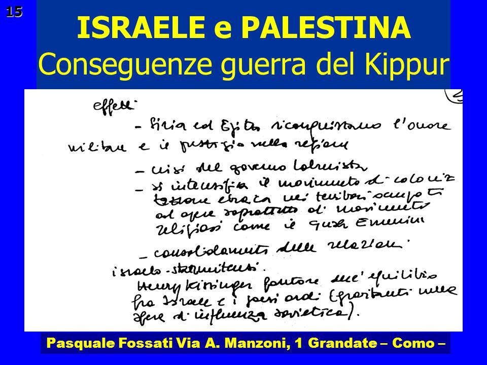 Pasquale Fossati Via A. Manzoni, 1 Grandate – Como – ISRAELE e PALESTINA 15 Conseguenze guerra del Kippur