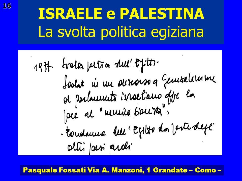 Pasquale Fossati Via A. Manzoni, 1 Grandate – Como – ISRAELE e PALESTINA 16 La svolta politica egiziana