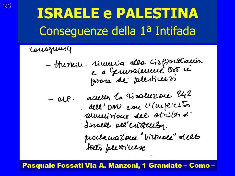 Pasquale Fossati Via A. Manzoni, 1 Grandate – Como – ISRAELE e PALESTINA 25 Conseguenze della 1ª Intifada
