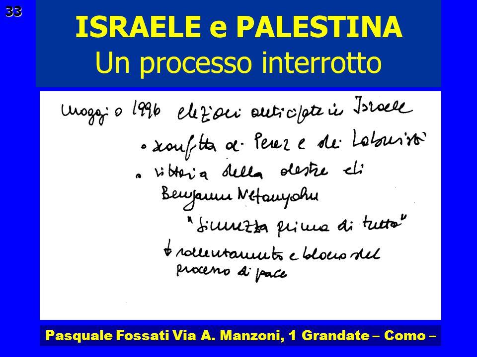 Pasquale Fossati Via A. Manzoni, 1 Grandate – Como – ISRAELE e PALESTINA 33 Un processo interrotto