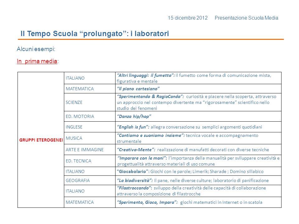 15 dicembre 2012 Presentazione Scuola Media Il Tempo Scuola prolungato: i laboratori Alcuni esempi: In prima media: GRUPPI ETEROGENEI ITALIANO Altri l