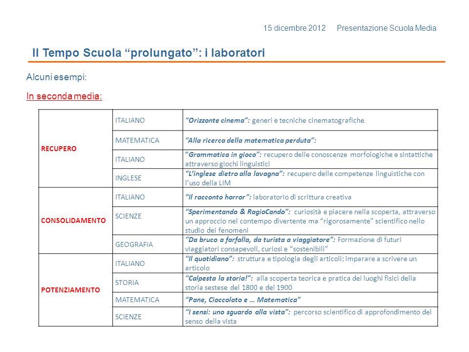 15 dicembre 2012 Presentazione Scuola Media Il Tempo Scuola prolungato: i laboratori Alcuni esempi: In seconda media: RECUPERO ITALIANOOrizzonte cinem
