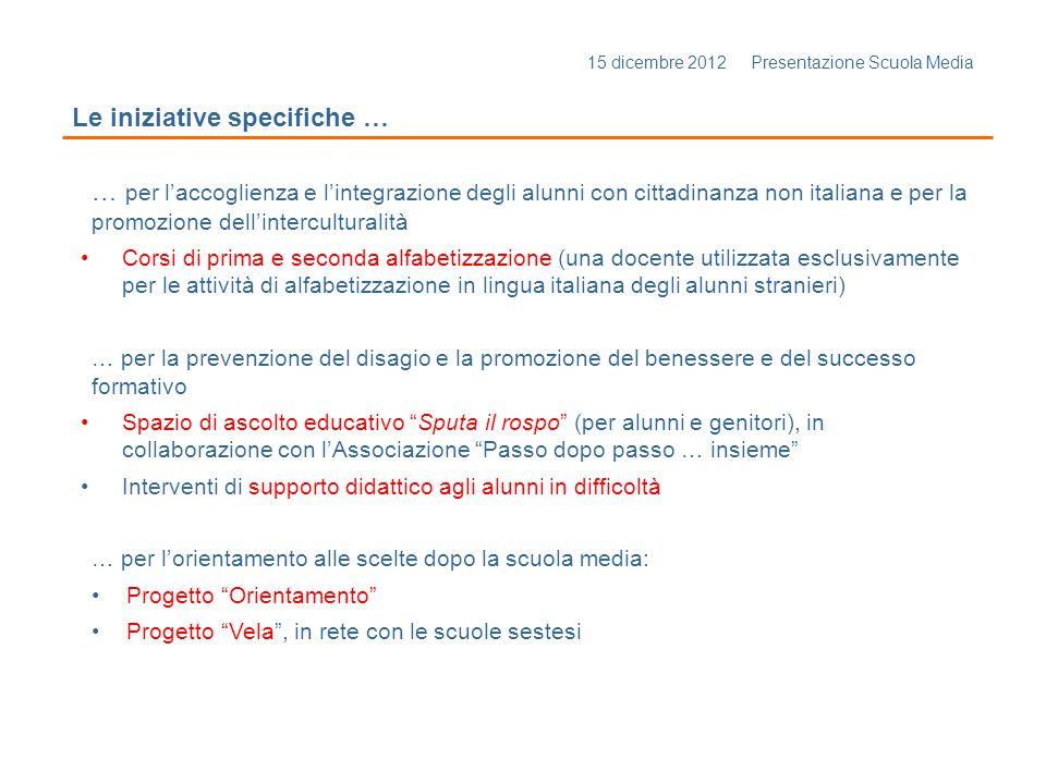 15 dicembre 2012 Presentazione Scuola Media Le iniziative specifiche … … per laccoglienza e lintegrazione degli alunni con cittadinanza non italiana e