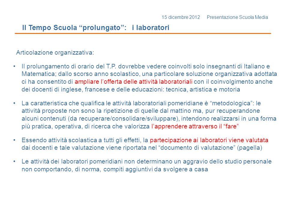 15 dicembre 2012 Presentazione Scuola Media Il Tempo Scuola prolungato: i laboratori Articolazione organizzativa: Il prolungamento di orario del T.P.