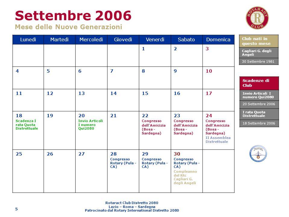 Rotaract Club Distretto 2080 Lazio – Roma – Sardegna Patrocinato dal Rotary International Distretto 2080 5 Settembre 2006 Mese delle Nuove Generazioni