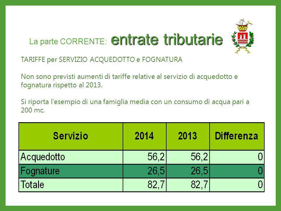 entrate tributarie La parte CORRENTE: entrate tributarie TARIFFE per SERVIZIO ACQUEDOTTO e FOGNATURA Non sono previsti aumenti di tariffe relative al