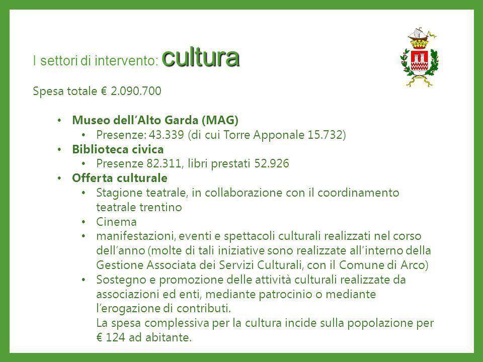 cultura I settori di intervento: cultura Spesa totale 2.090.700 Museo dellAlto Garda (MAG) Presenze: 43.339 (di cui Torre Apponale 15.732) Biblioteca