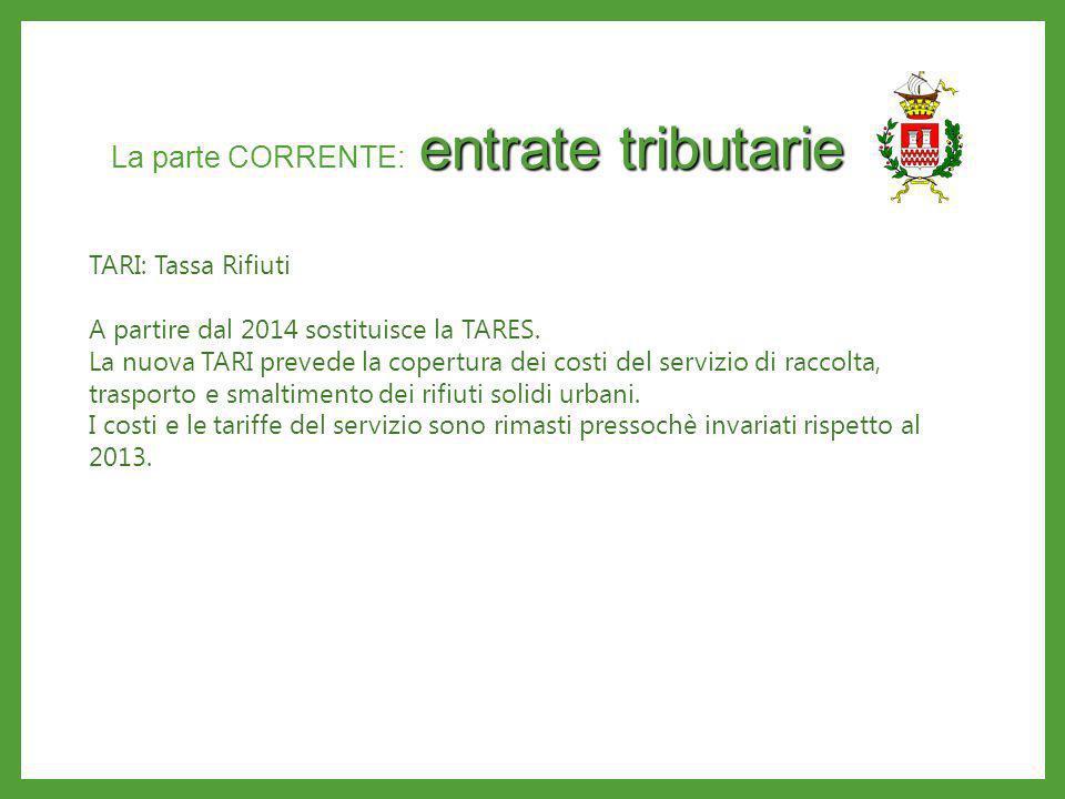 entrate tributarie La parte CORRENTE: entrate tributarie TARI: Tassa Rifiuti A partire dal 2014 sostituisce la TARES. La nuova TARI prevede la copertu