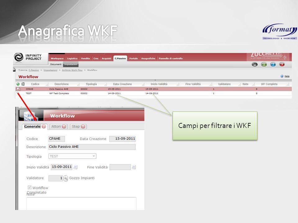 Campi per filtrare i WKF