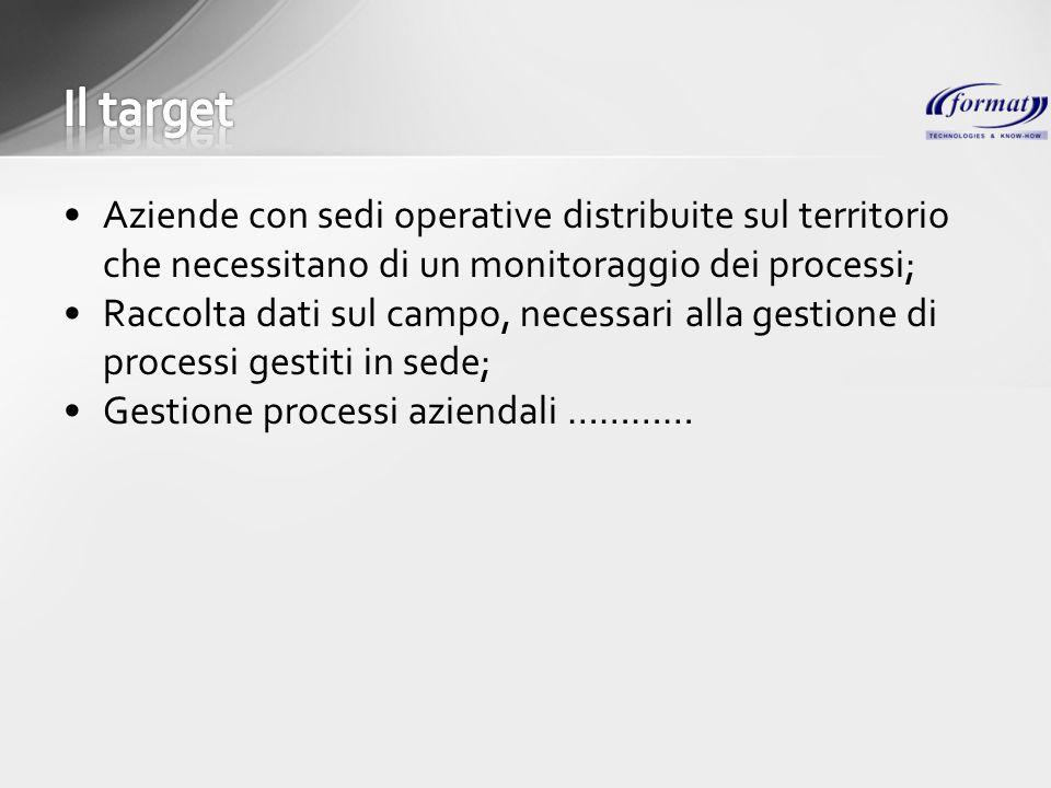 Aziende con sedi operative distribuite sul territorio che necessitano di un monitoraggio dei processi; Raccolta dati sul campo, necessari alla gestion