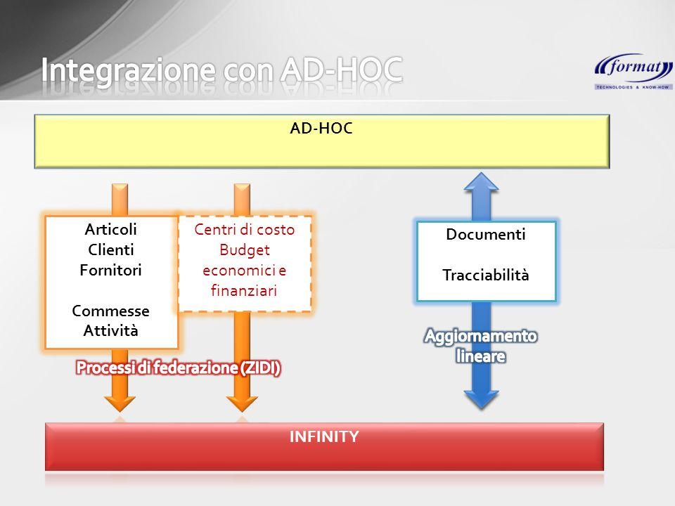 AD-HOC Articoli Clienti Fornitori Commesse Attività Centri di costo Budget economici e finanziari Documenti Tracciabilità