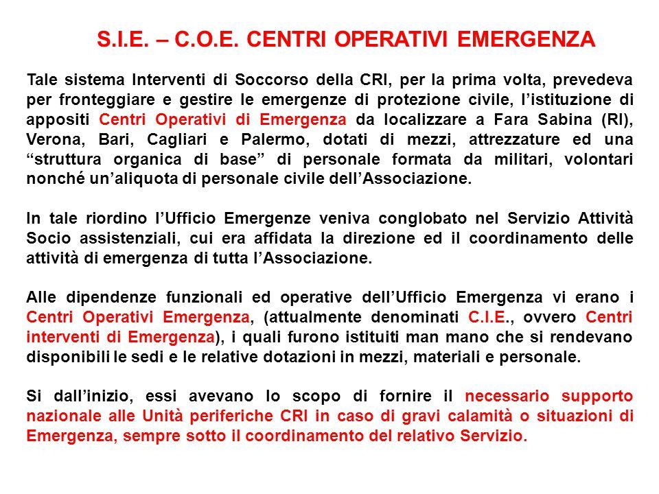 Tale sistema Interventi di Soccorso della CRI, per la prima volta, prevedeva per fronteggiare e gestire le emergenze di protezione civile, listituzion