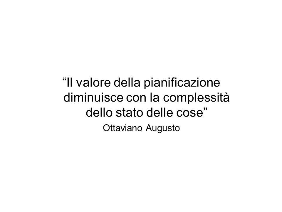 Il valore della pianificazione diminuisce con la complessità dello stato delle cose Ottaviano Augusto