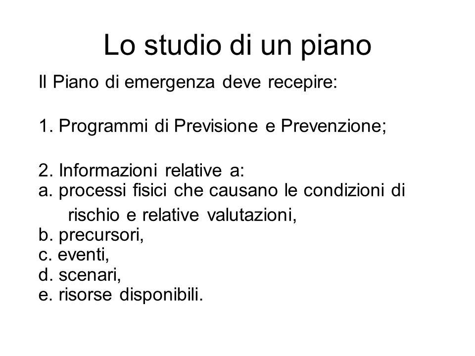 Lo studio di un piano Il Piano di emergenza deve recepire: 1. Programmi di Previsione e Prevenzione; 2. Informazioni relative a: a. processi fisici ch