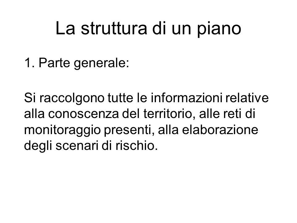 La struttura di un piano 1. Parte generale: Si raccolgono tutte le informazioni relative alla conoscenza del territorio, alle reti di monitoraggio pre