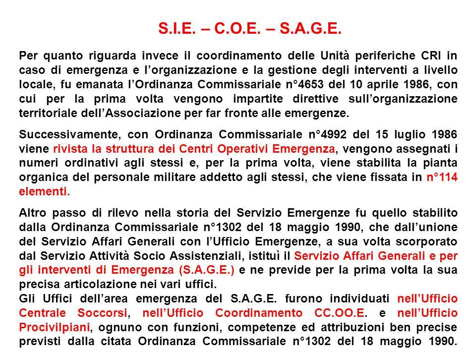 Per quanto riguarda invece il coordinamento delle Unità periferiche CRI in caso di emergenza e lorganizzazione e la gestione degli interventi a livello locale, fu emanata lOrdinanza Commissariale n°4653 del 10 aprile 1986, con cui per la prima volta vengono impartite direttive sullorganizzazione territoriale dellAssociazione per far fronte alle emergenze.
